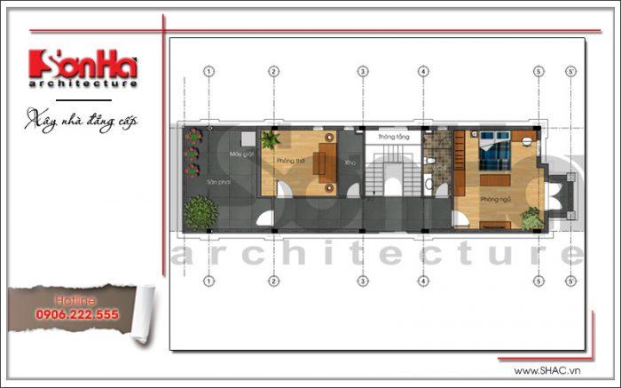 Mặt bằng công năng tầng 3 nhà phố cổ điển 3 tầng tại Hải Phòng sh nop 0130