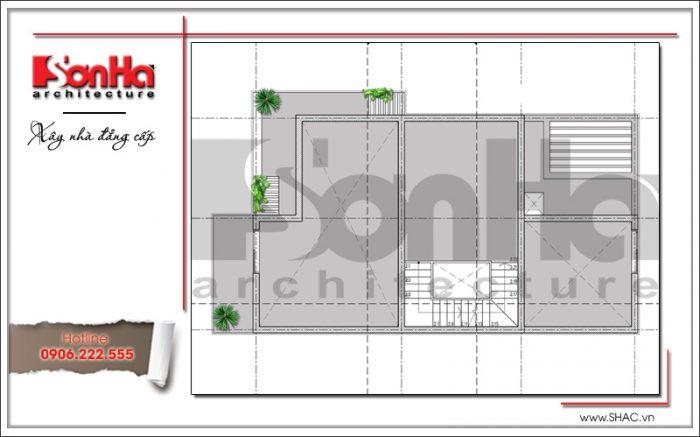 Mặt bằng tum biệt thự hiện đại 2 tầng sang trọng tại Hải Phòng SH BTD 0051