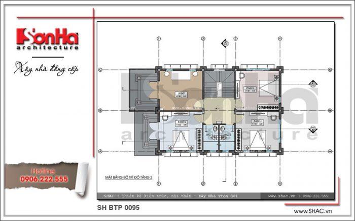 Bản vẽ mặt bằng công năng tầng 2 biệt thự Pháp 2 tầng mặt tiền 8m