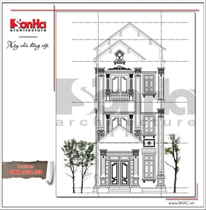 Mặt đứng chính nhà phố cổ điển 3 tầng tại Hải Phòng sh nop 0130