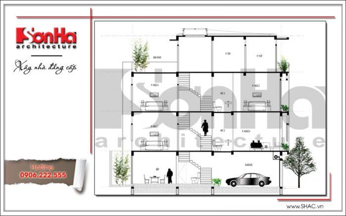 Mặt cắt nhà phố hiện đại 4 tầng tại Hà Nội SH NOD 0164