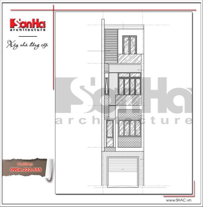 Mặt đứng nhà phố hiện đại 4 tầng tại Hà Nội SH NOD 0164