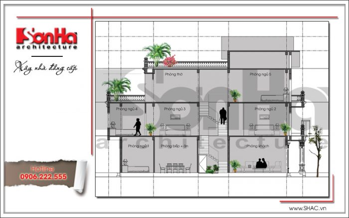 Mặt cắt nhà phố cổ điển 3 tầng tại Hải Phòng sh nop 0130