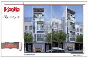 BÌA Mẫu thiết kế nhà phố 4 tầng hiện đại mới nhất tại Hà Nội SH NOD 0164