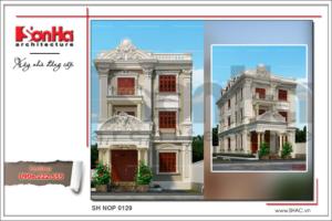 BÌA Thiết kế kiến trúc nhà phố cổ điển 3 tầng tại Hà Nội SH NOP 0129