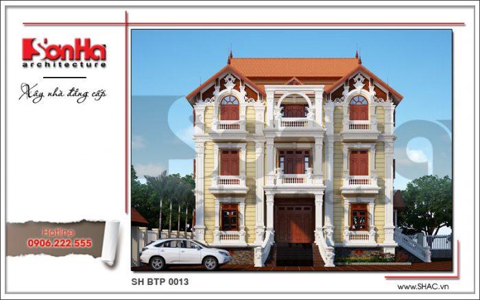 Kiến trúc ngoại thất tinh tế và sang trọng đến từng chi tiết của biệt thự Pháp mái ngói 4 tầng đẹp