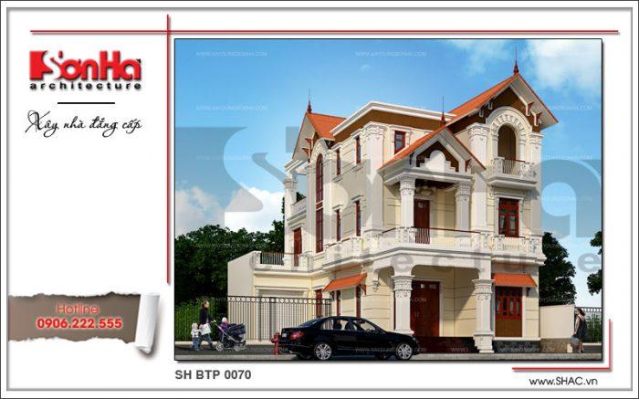 Mẫu biệt thự 3 tầng kiến trúc Pháp mái ngói đỏ đẹp được đánh giá cao về kiến trúc và nội thất
