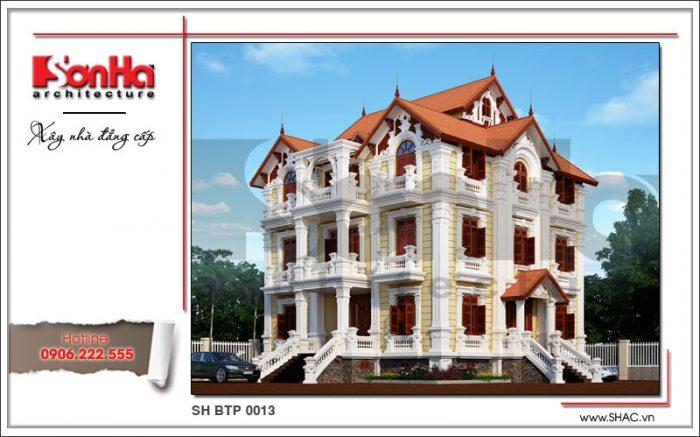 Mẫu thiết kế biệt thự Pháp 4 tầng mái ngói đỏ đậm chất cổ điển sang trọng tại Hà Nội