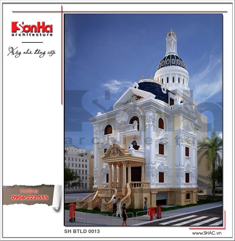 Ngoại thất ấn tượng và tinh tế của ngôi biệt thự 5 tầng phong cách lâu đài thương hiệu SHAC uy tín