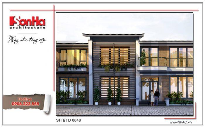 Cận cảnh phương án thiết kế mặt tiền giản dị nhưng có chiều sâu của biệt thự hiện đại 2 tầng đẹp