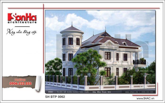 Góc view càng cho thấy sự quy mô của biệt thự tân cổ điển trong bố trí và thiết kế các chi tiết