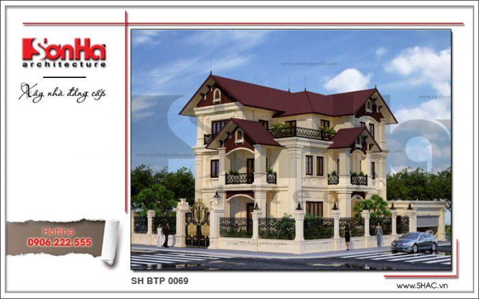 Thêm một phương án thiết kế biệt thự 3 tầng kiến trúc Pháp mái ngói đẹp được đề xuất Hà Nội
