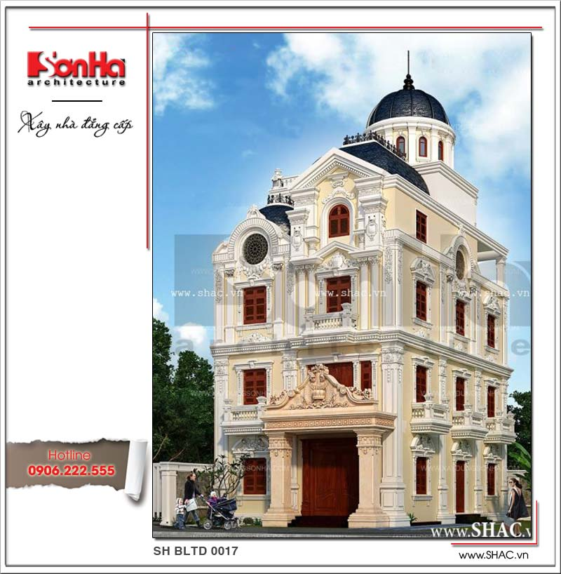 Kiến trúc mặt tiền đẹp của ngôi biệt thự phong cách lâu đài cổ điển Pháp thiết kế 4 tầng tiện nghi