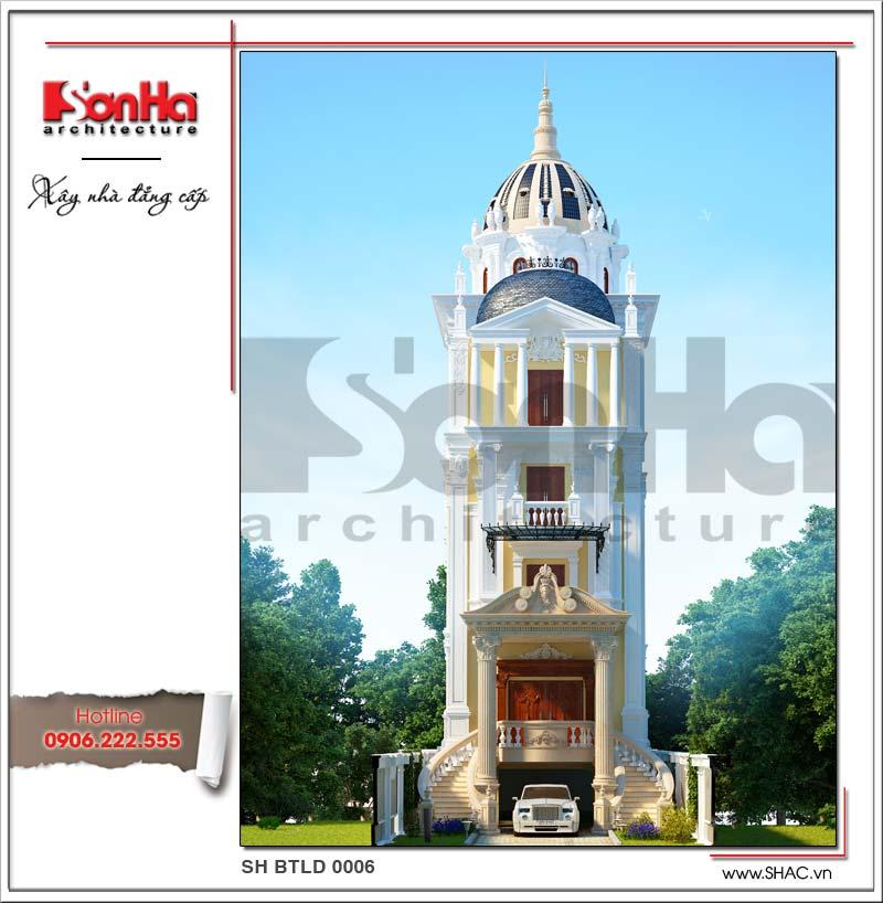 Mẫu biệt thự cổ điển 6 tầng thiết kế phong cách lâu đài sang trọng tại Thái Bình đẹp mắt sang trọng