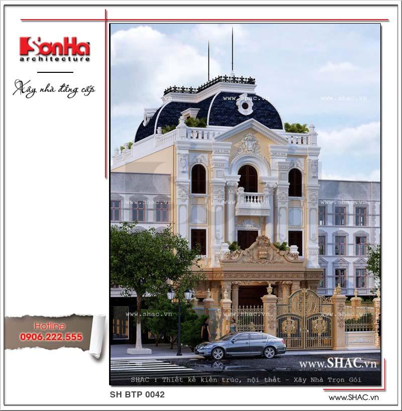 Mẫu biệt thự 3 tầng mặt tiền 10m sở hữu diện mạo ngoại thất phong cách cổ điển Pháp uy nghi