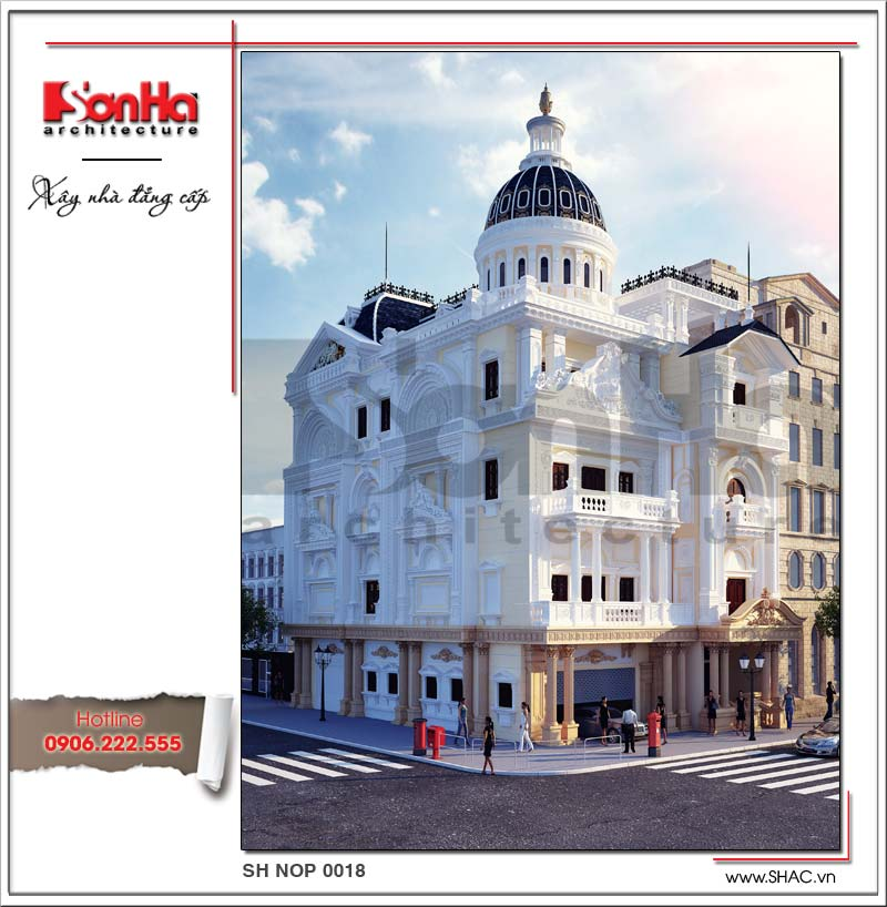 Mẫu thiết kế biệt thự kiến trúc Pháp 4 tầng sang trọng tại Hà Nam nổi bật với hệ mái vòm xanh đẳng cấp
