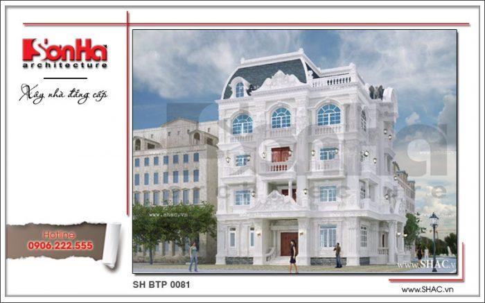 Phương án thiết kế biệt thự 4 tầng kiến trúc Pháp cổ điển kiến trúc đẹp mắt và khá sang trọng