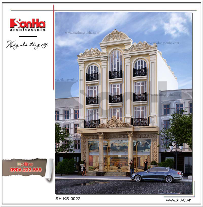 Công trình khách sạn 5 tầng sở hữu diện mạo kiến trúc nổi bật, kiêu kỳ được thiết kế với các tiêu chuẩn thiết kế nghiêm ngặt và khoa học ở mặt tiền