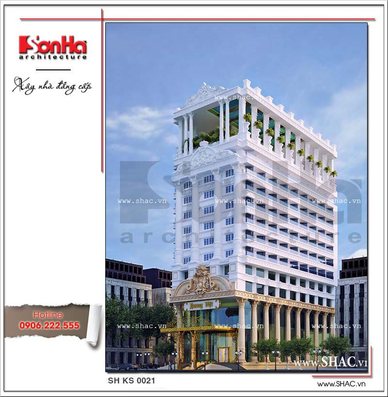 Mẫu thiết kế khách sạn 4 sao 2 mặt tiền cổ điển sang trọng tại Bình Định điển hình khách sạn đẹp nhất xu hướng thiết kế 2017 thương hiệu SHAC