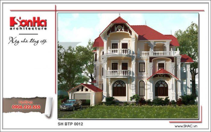 Kiến trúc ngoại thất cổ điển ấn tượng với hệ mái ngói đỏ nổi bật của mẫu thiết kế biệt thự kiểu Pháp 3 tầng đẹp tại Quảng Ninh