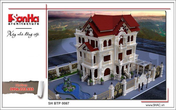 Kiến trúc mặt tiền đậm chất cổ điển đẳng cấp của biệt thự kiểu Pháp 3 tầng tại Quảng Ninh