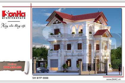 Kiến trúc đẹp mặt của mẫu biệt thự pháp mái ngói sh btp 0088 2