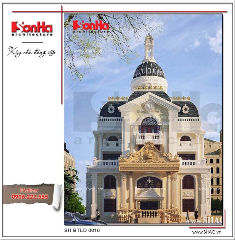 Kiến trúc Pháp đẹp của ngôi biệt thự lâu đài 5 tầng cổ điển được thể hiện nổi bật trên mặt tiền 16m