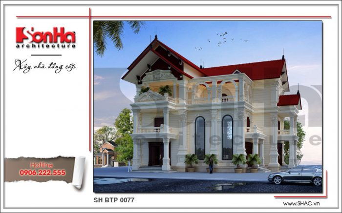 Mặt tiền biệt thự kiểu Pháp mái ngói ấn tượng với thiết kế tinh tế và sang trọng