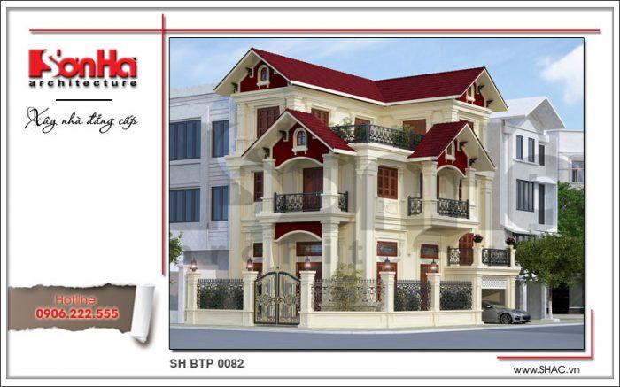 Thiết kế kiến trúc mặt tiền biệt thự 3 tầng cổ điển sang trọng tinh tế hơn với thiết kế mái ngói