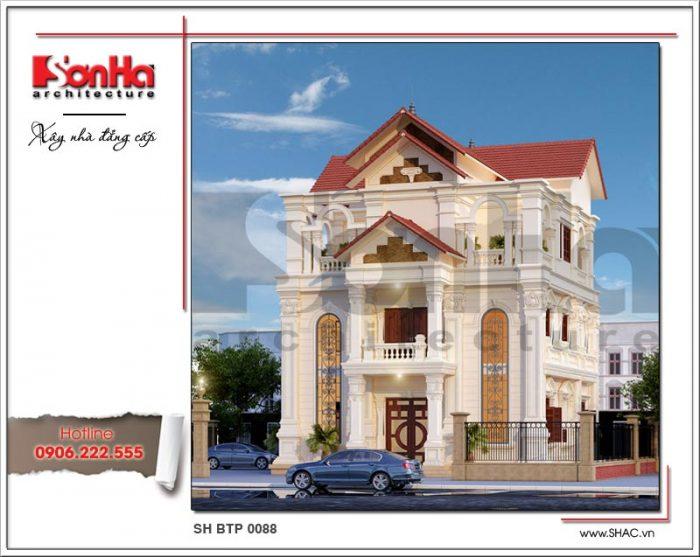 Ngôi biệt thự kiến trúc Pháp cổ điển mái ngói 3 tầng tiện nghi xuất hiện nổi bật tại Thái Bình
