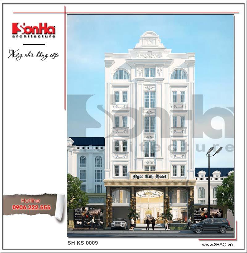 Mặt tiền khách sạn 3 sao kiểu Pháp được tạo hình đơn giản nhưng có chiều sâu tạo hiệu ứng mạnh