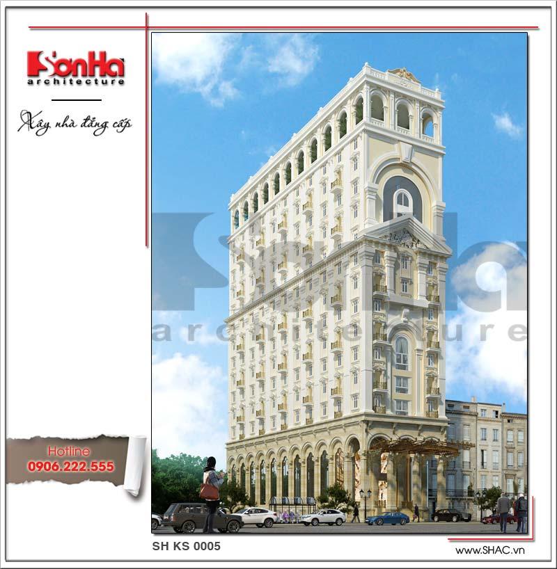 Phối cảnh kiến trúc đẹp của khách sạn tiêu chuẩn 4 sao kiến trúc Pháp đẹp tại Đà Nẵng ấn tượng