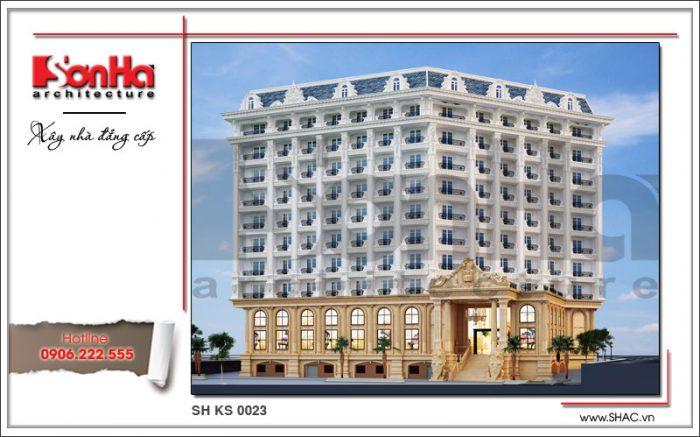 """Phối cảnh kiến trúc mặt sau của khách sạn 5 sao cũng được chú trọng thiết kế với từng đường nét tinh tế đủ sức """"mê hoặc"""" ánh nhìn của Du khách"""