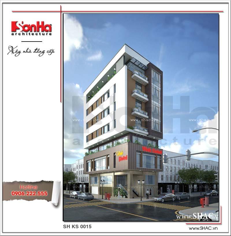 Mẫu thiết kế khách sạn 8 tầng tiêu chuẩn 1 sao sở hữu vị trí giao thông thuận tiện, kiến trúc hiện đại độc đáo tại trung tâm TP. Vinh, tỉnh Nghệ An