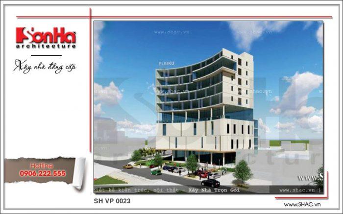 Kiến trúc khang trang của mẫu thiết kế tòa nhà văn phòng cao tầng đẳng cấp đến từng tiểu tiết