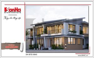 Phương án thiết kế biệt thự 2 tầng hiện đại sh btd 0043 2