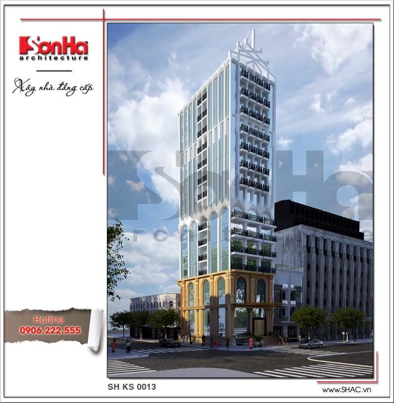 Đã mắt với mẫu thiết kế khách sạn 3 sao 16 tầng đồ sộ tại Nha Trang với phương án kiến trúc pháp mềm mại kết hợp các vật liệu cao cấp tôn vinh sự uy nghi của công trình