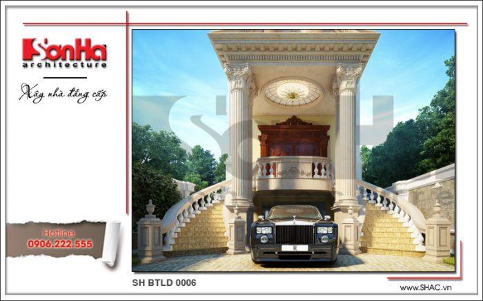 Phương án thiết kế kiến trúc và mặt tiền sang trọng của ngôi biệt thự kiểu Pháp lâu đài 6 tầng