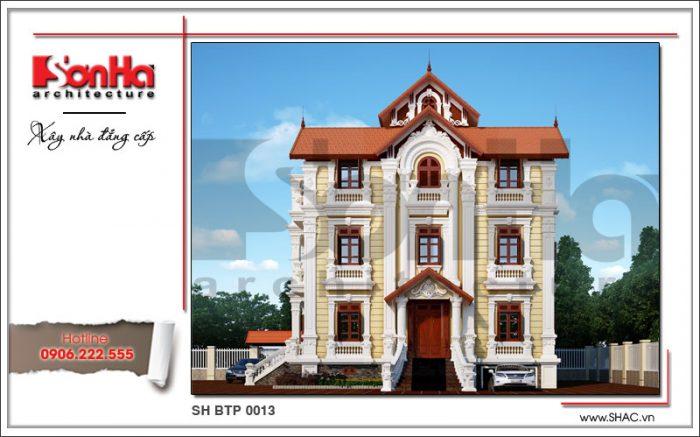 Mẫu thiết kế biệt thự kiểu Pháp đẹp trên diện tích 225m2 tại Hà Nội