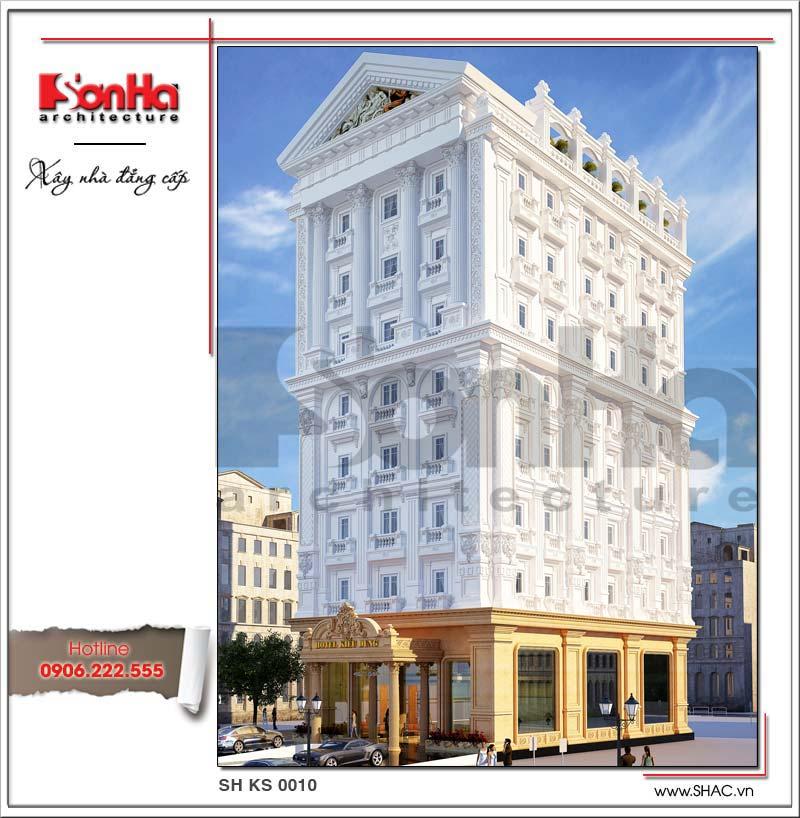Mẫu khách sạn 8 tầng tiêu chuẩn 4 sao đẳng cấp tại Quảng Bình đánh dấu thương hiệu SHAC uy tín và tin cậy trên thị trường xây dựng toàn quốc với mẫu khách sạn đẳng cấp này