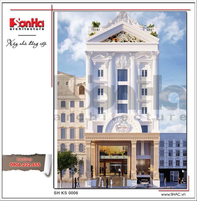 Mẫu khách sạn mini kiến trúc cổ điển sang trọng 7 tầng đạt tiêu chuẩn 2 sao tại TPHCM do SHAC thiết kế năm 2014