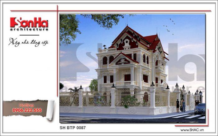 Phương án thiết kế kiến trúc mãn nhãn của mẫu biệt thự Pháp mái ngói đỏ tại Quảng Ninh