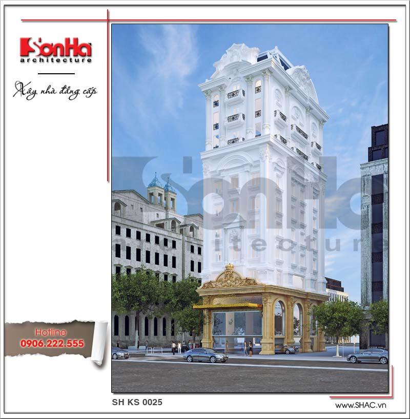 Thiết kế tòa nhà văn phòng đẹp kiểu cổ điển Pháp tại Nghệ An mang nét mới lạ và khá ấn tượng