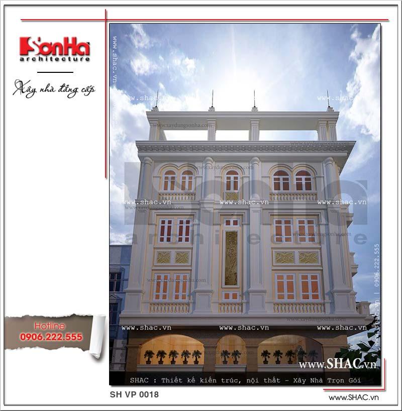 Hình ảnh cho thấy phương án thiết kế mặt bên của tòa nhà văn phòng phong cách cổ điển SHAC