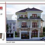 Mặt bằng công năng tầng 3 mái biệt thự tân cổ điển đẹp tại Quảng Bình sh btp 0099