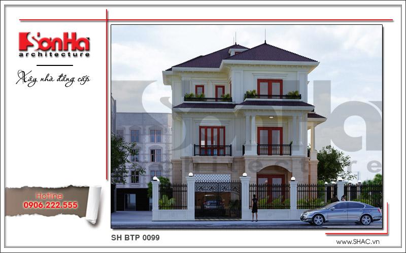 Thiết kế biệt thự 3 tầng tân cổ điển đẹp tại Quảng Bình - SH BTP 0099 1
