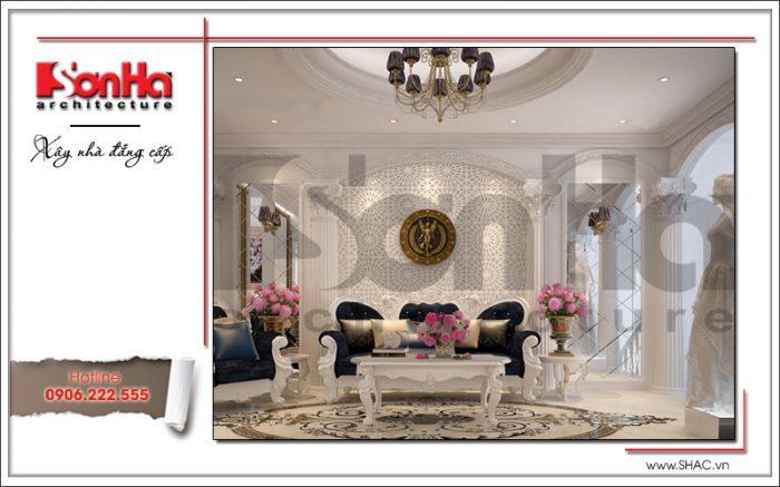 Thiết kế nội thất phòng kinh doanh váy cưới tầng lửng tại Hưng Yên