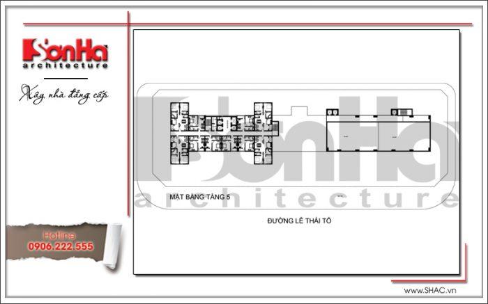 Mặt bằng điển hình tầng 6 khách sạn 4 sao tại Bắc Ninh sh ks 0034