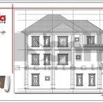 Mặt đứng ngang bên phải biệt thự tân cổ điển đẹp tại Quảng Bình sh btp 0099