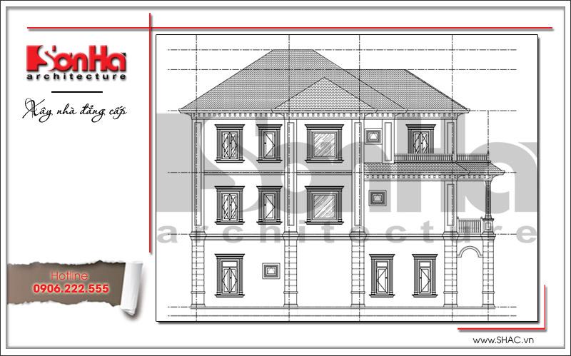 Thiết kế biệt thự 3 tầng tân cổ điển đẹp tại Quảng Bình - SH BTP 0099 15